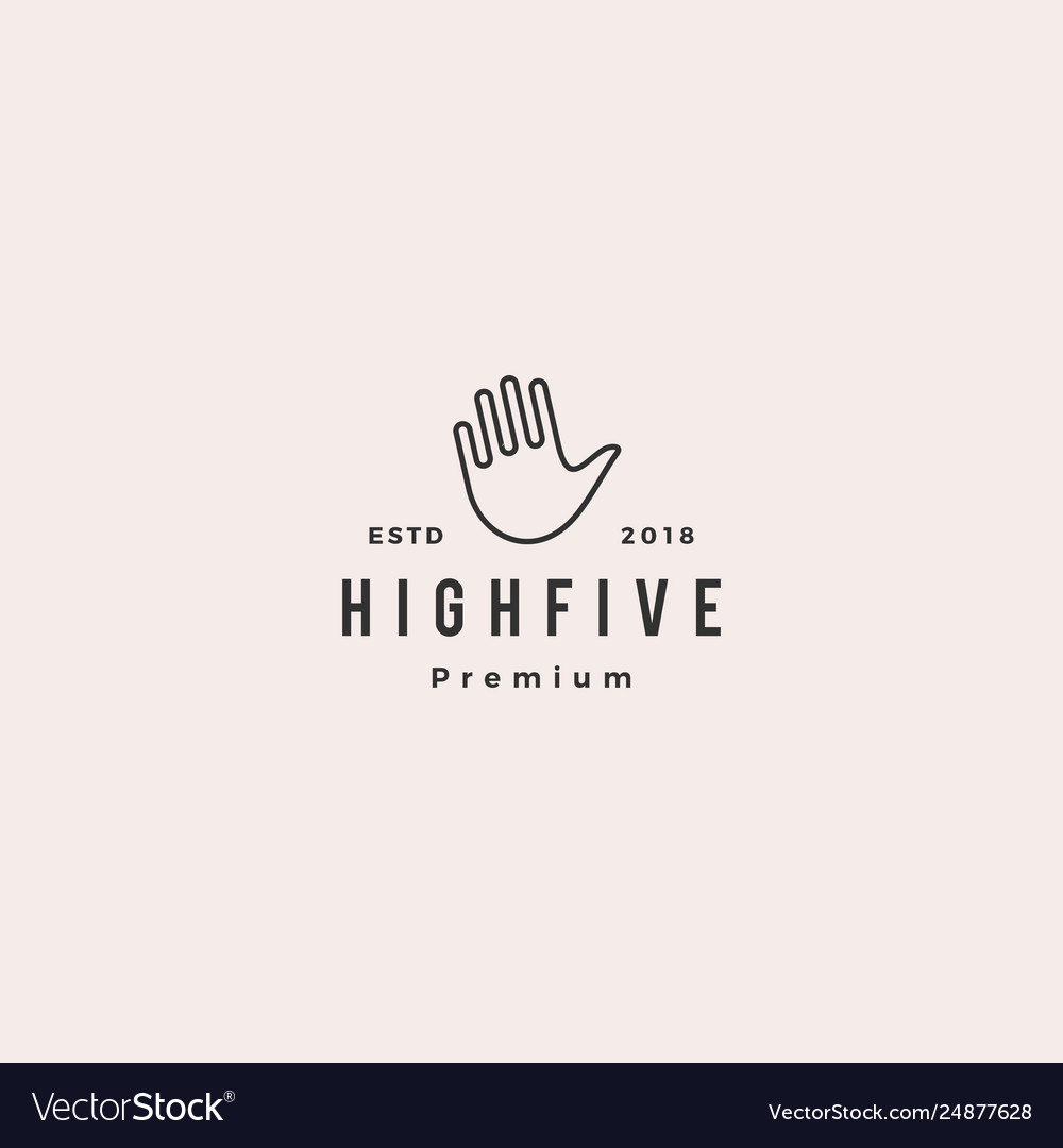 High 5 five hand gesture icon logo line outline