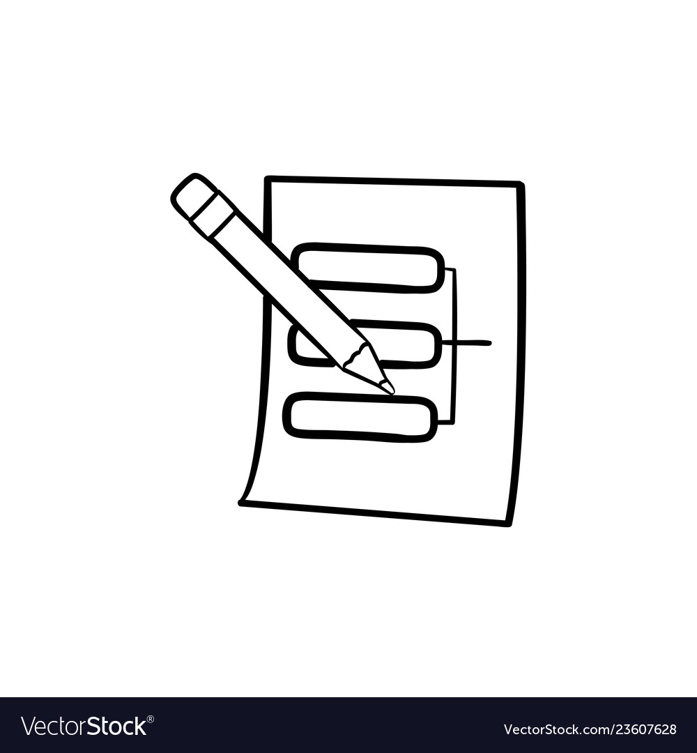 Pencil and paper sheet with system parts hand vector image