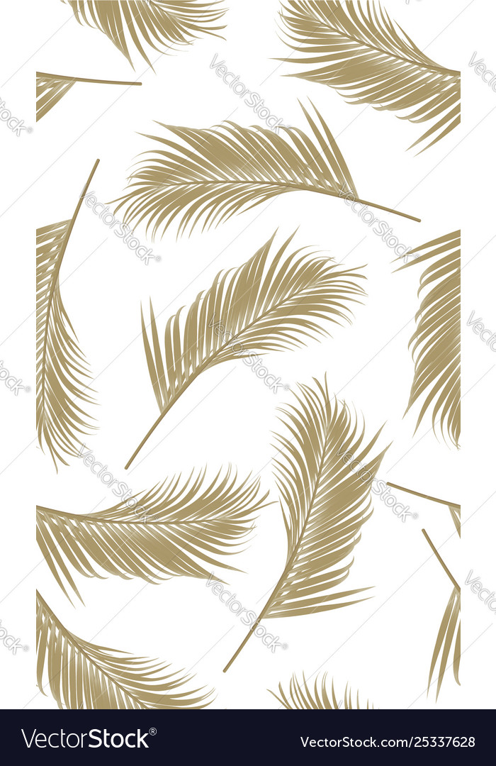 Seamless pattern with golden palms leaf