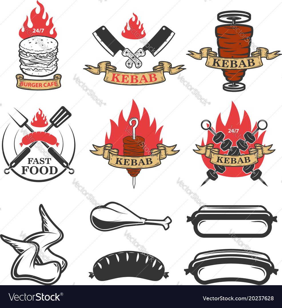 Set of fast food emblems and design elements