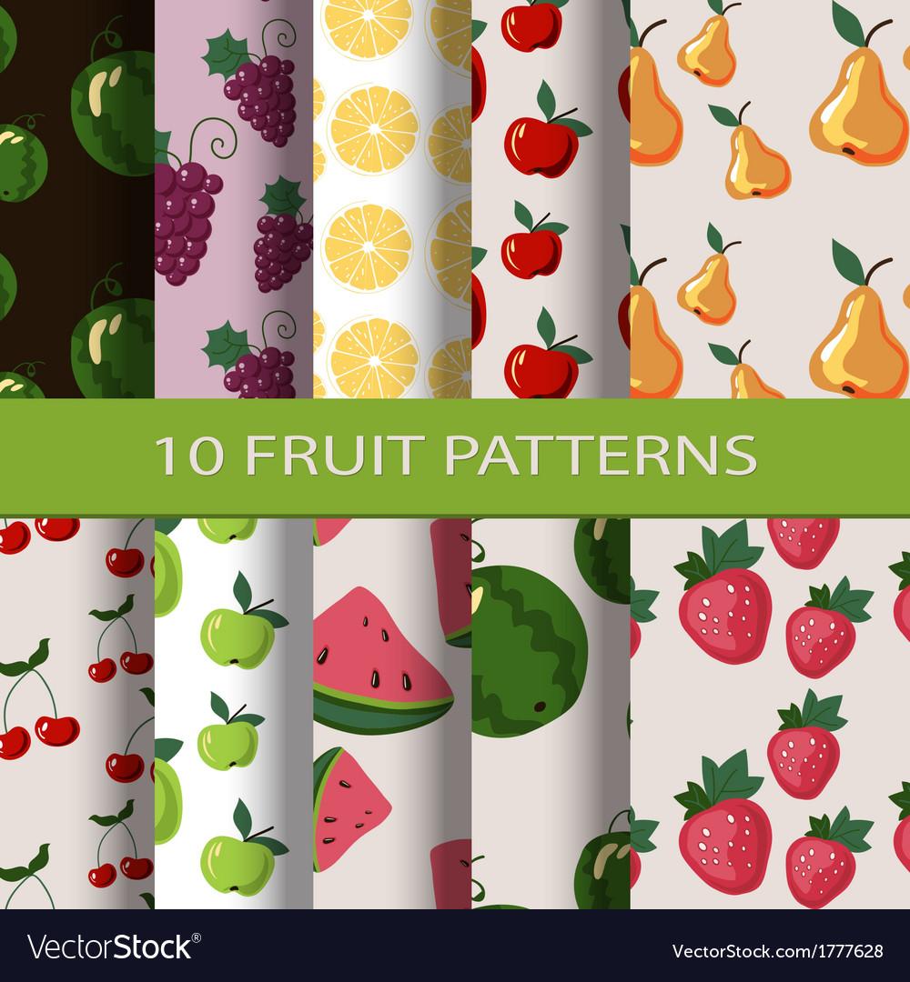 Set of fruit patterns vector image