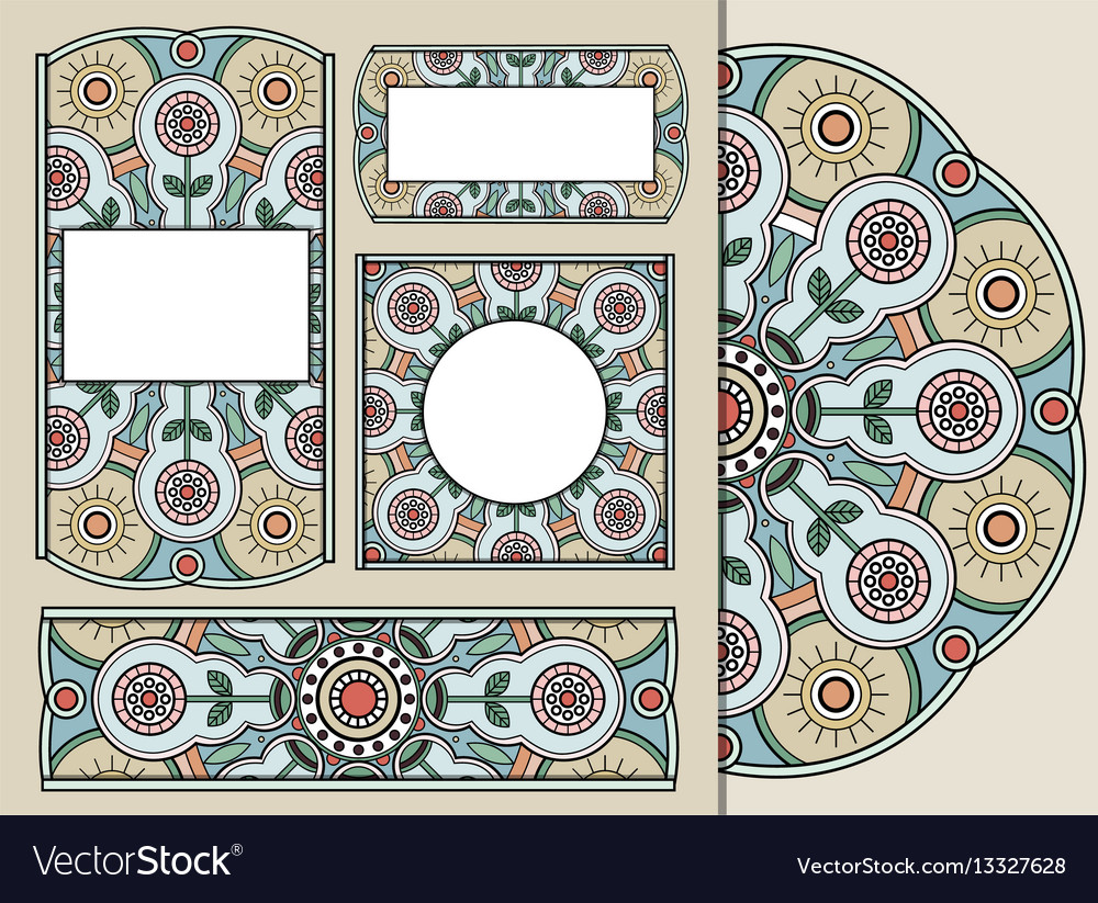 Set Of Greeting Cards Or Invitations With Doodle Vector Image