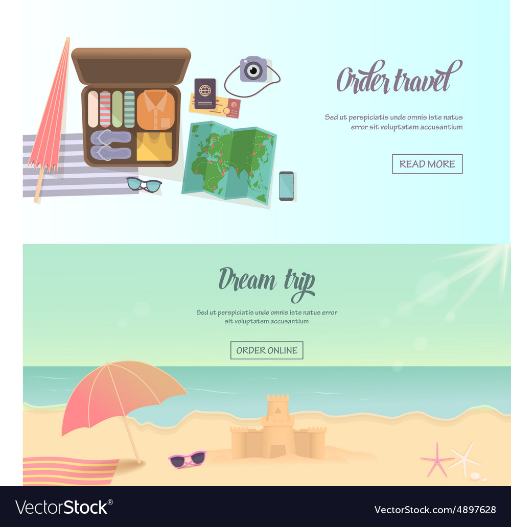 Summer holidays beach labels umbrella and castle
