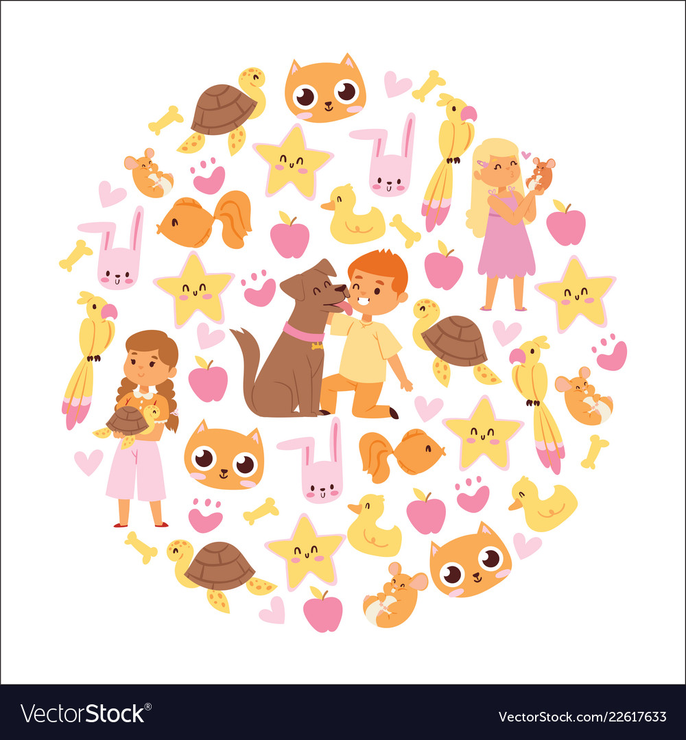 Animals friendship background with kids characters