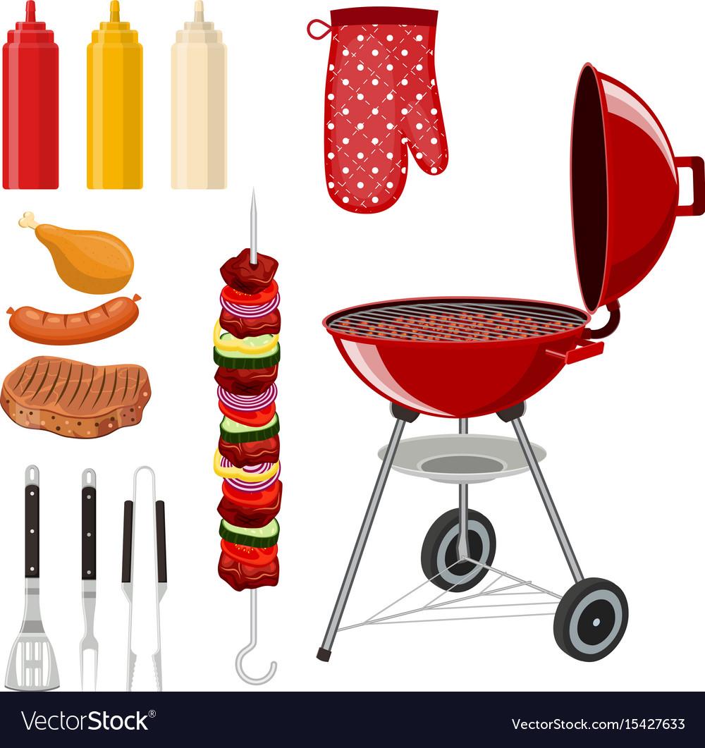 Bbq barbecue elements set vector image
