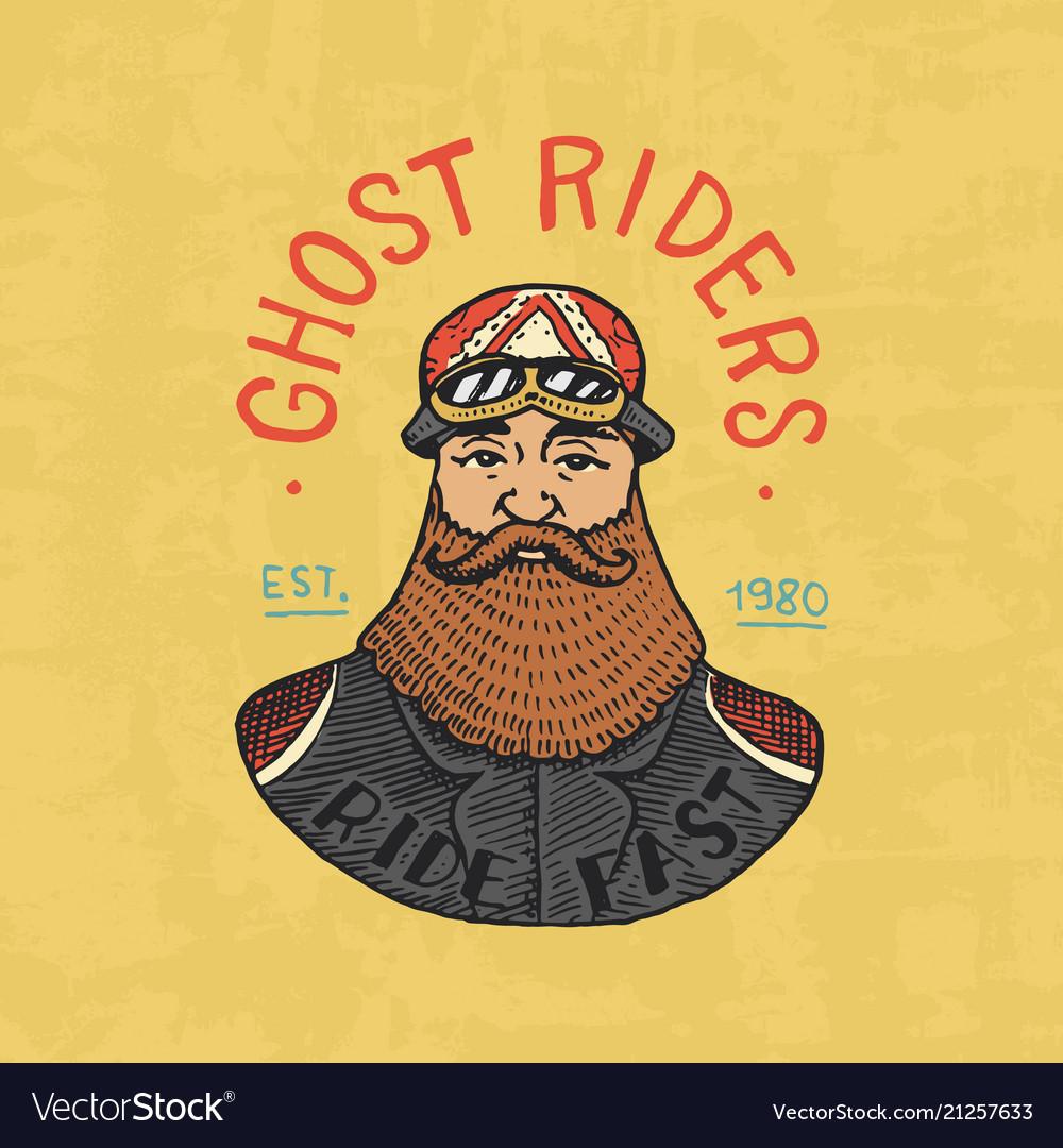 Bearded biker templates motorcycles club vintage