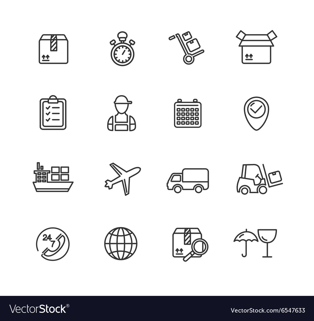 Cargo and Shipping Outline Icons Set