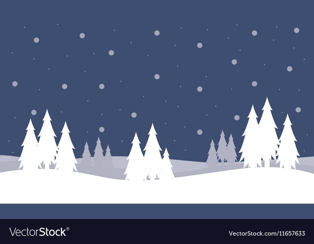 Christmas landscape with trees of silhouettes Vector Image