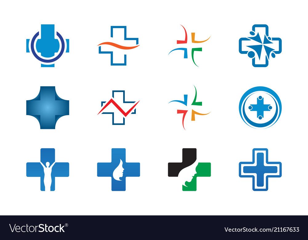 Collection of health cross logo template
