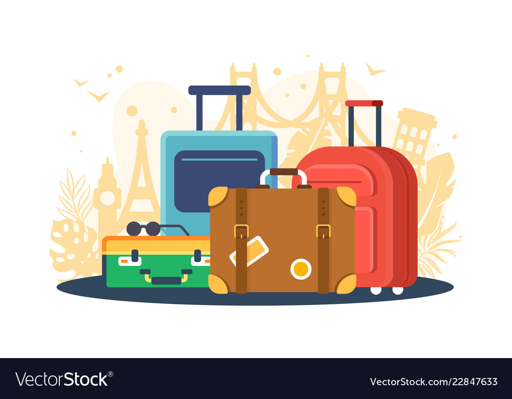 Flat set suitcases on background of attractions
