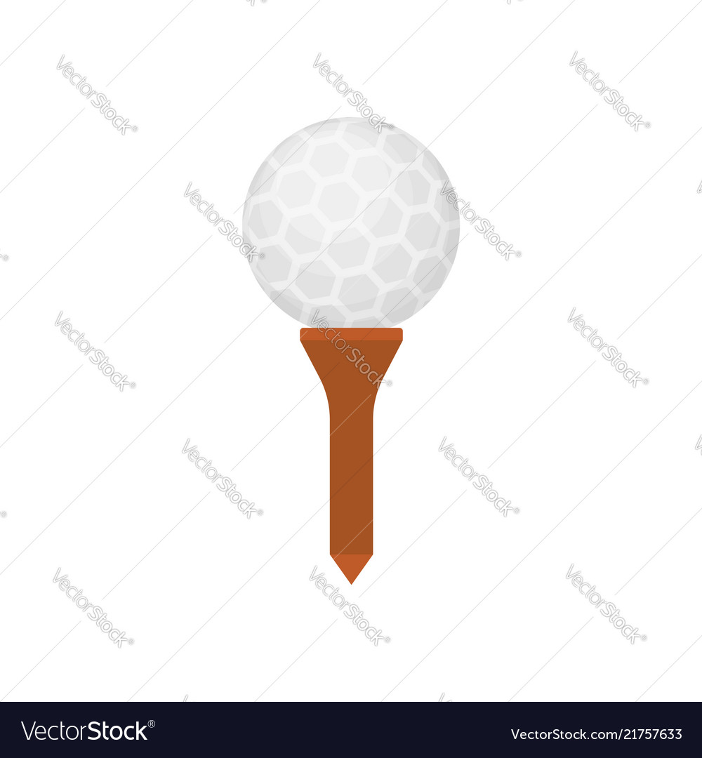 Golf ball icon on tee isolated on white background