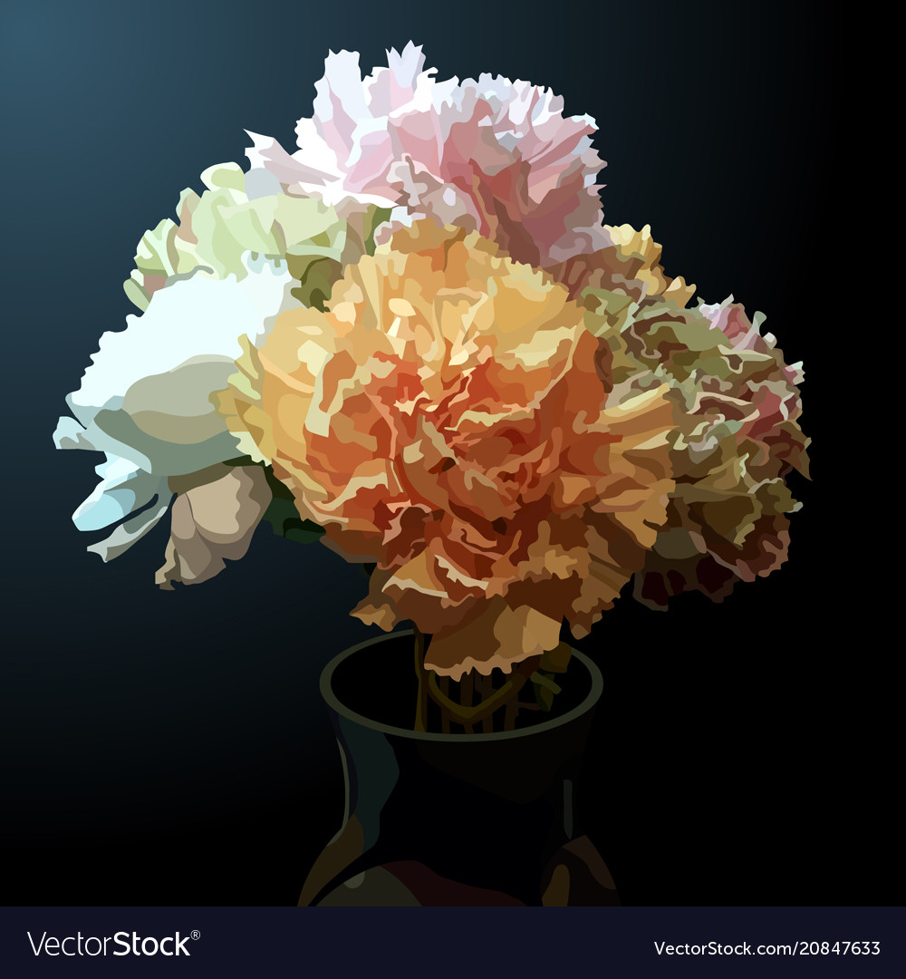 Painted bouquet of multicolored flowers carnation vector image izmirmasajfo