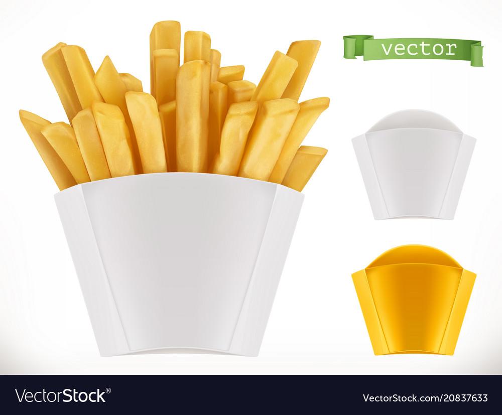 Potato french fries 3d realistic icon