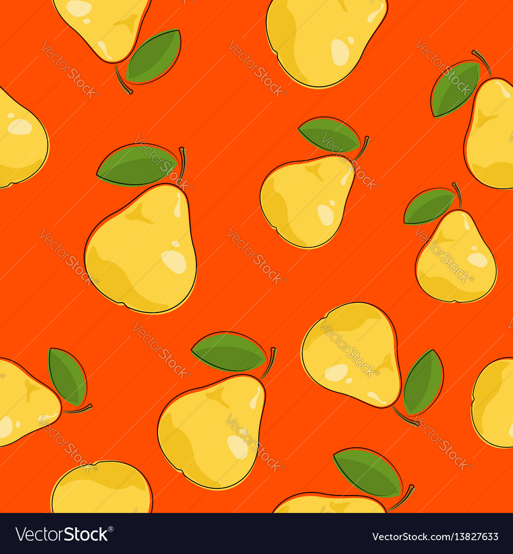 Seamless pattern pear on orange background