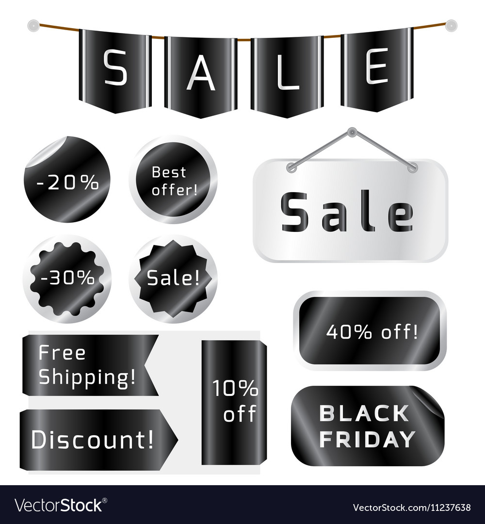 Black friday sale tags isolated On White