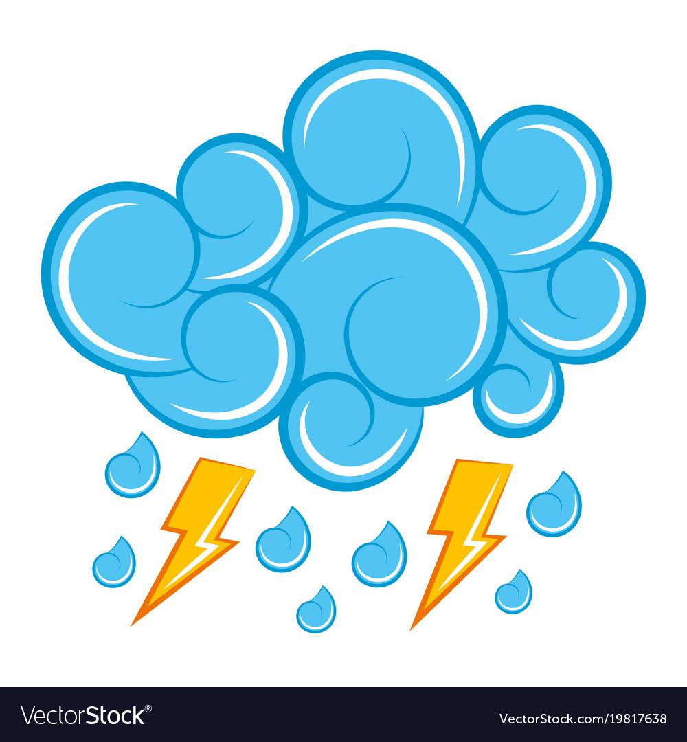 blue cloud lightning raindrops cartoon image vector image rh vectorstock com cartoon raindrops cartoon raindrops with faces