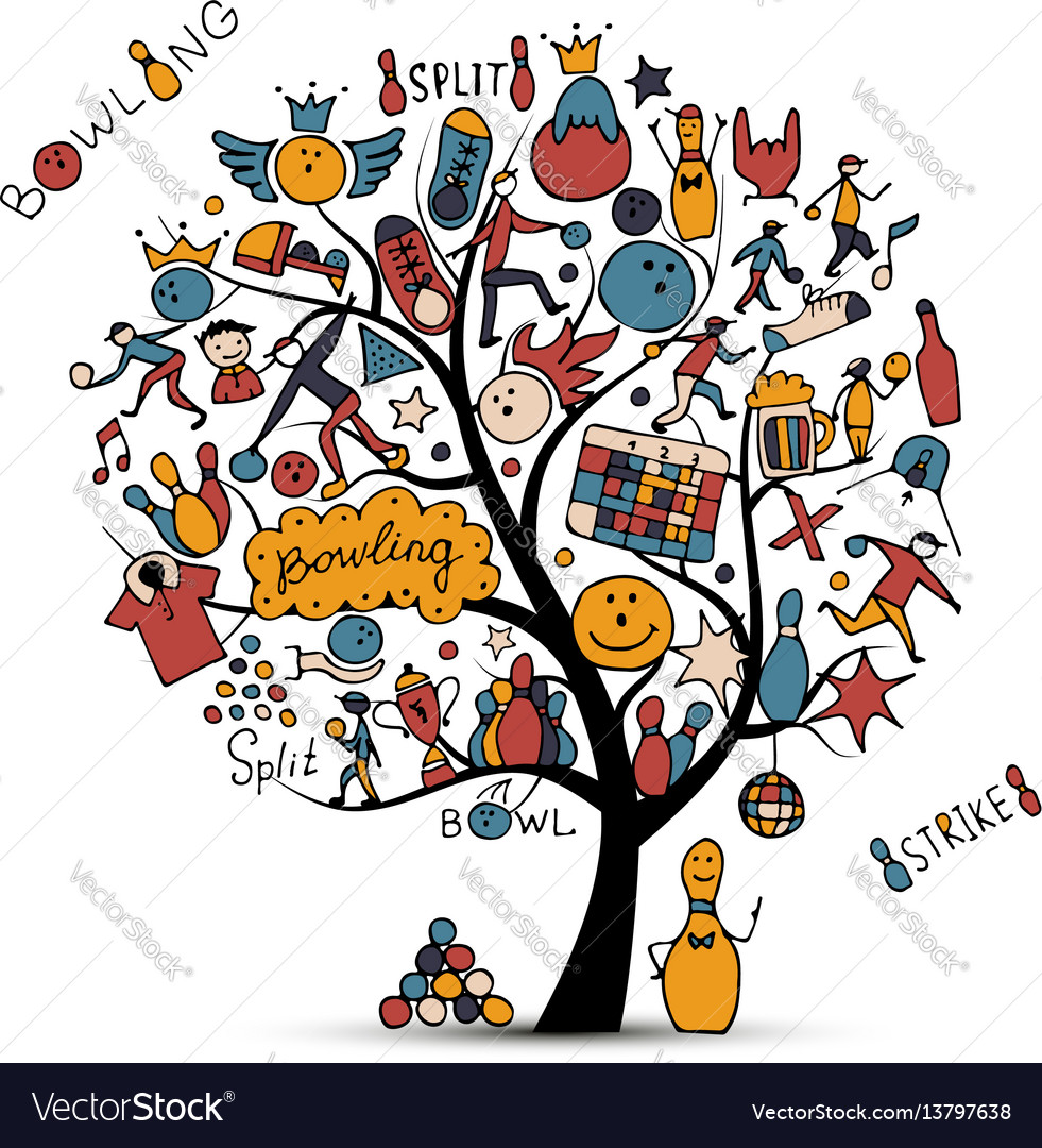 Bowling tree concept sketch for your design vector image