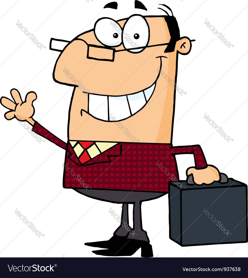 Businessman Waving A Greeting