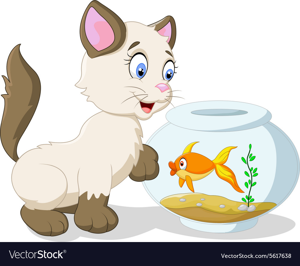 Cartoon curious cat with swimming fish vector image