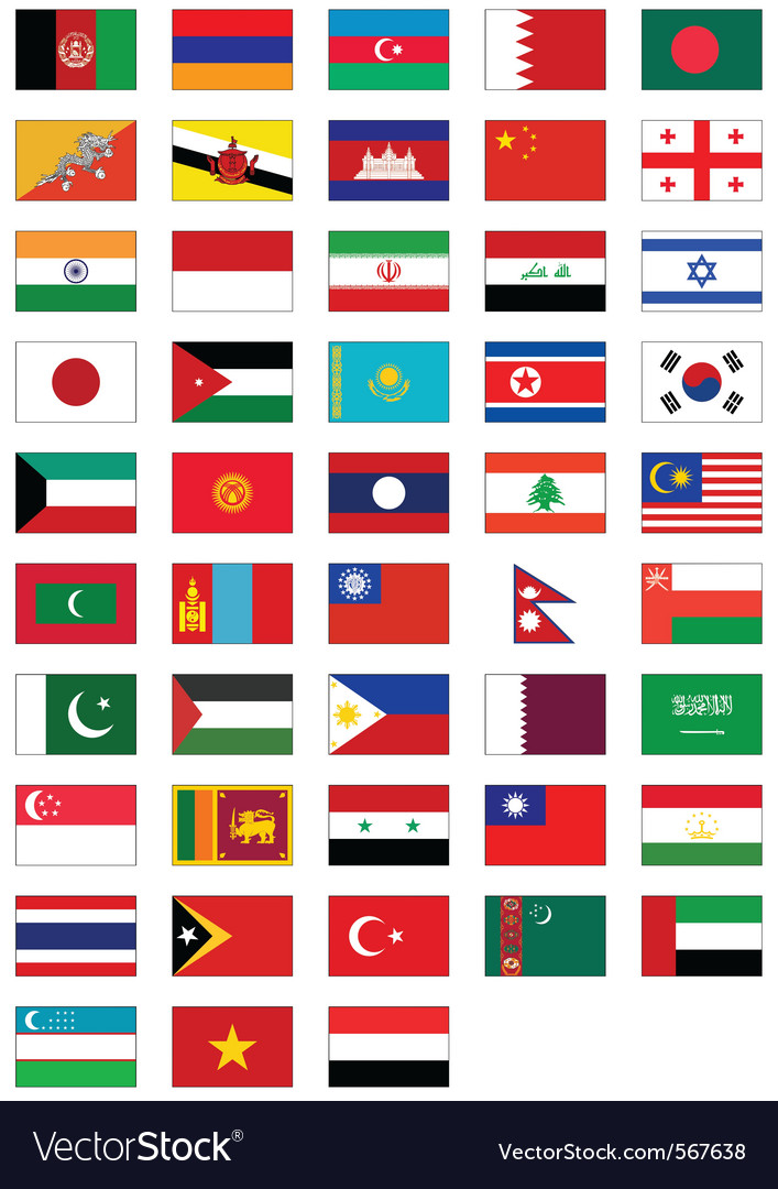 Flag set all asian countries