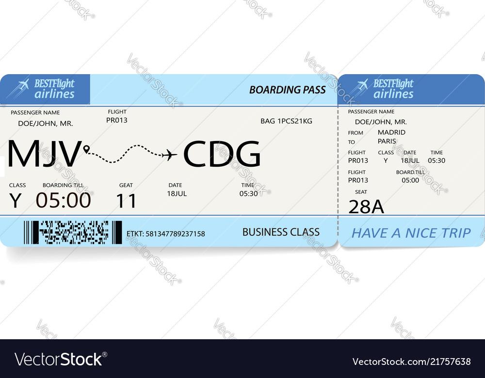 Flight ticket blue boarding pass