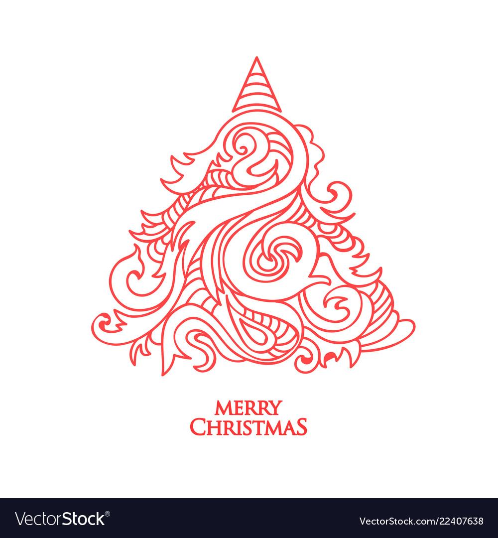 Hand drawn christmas tree