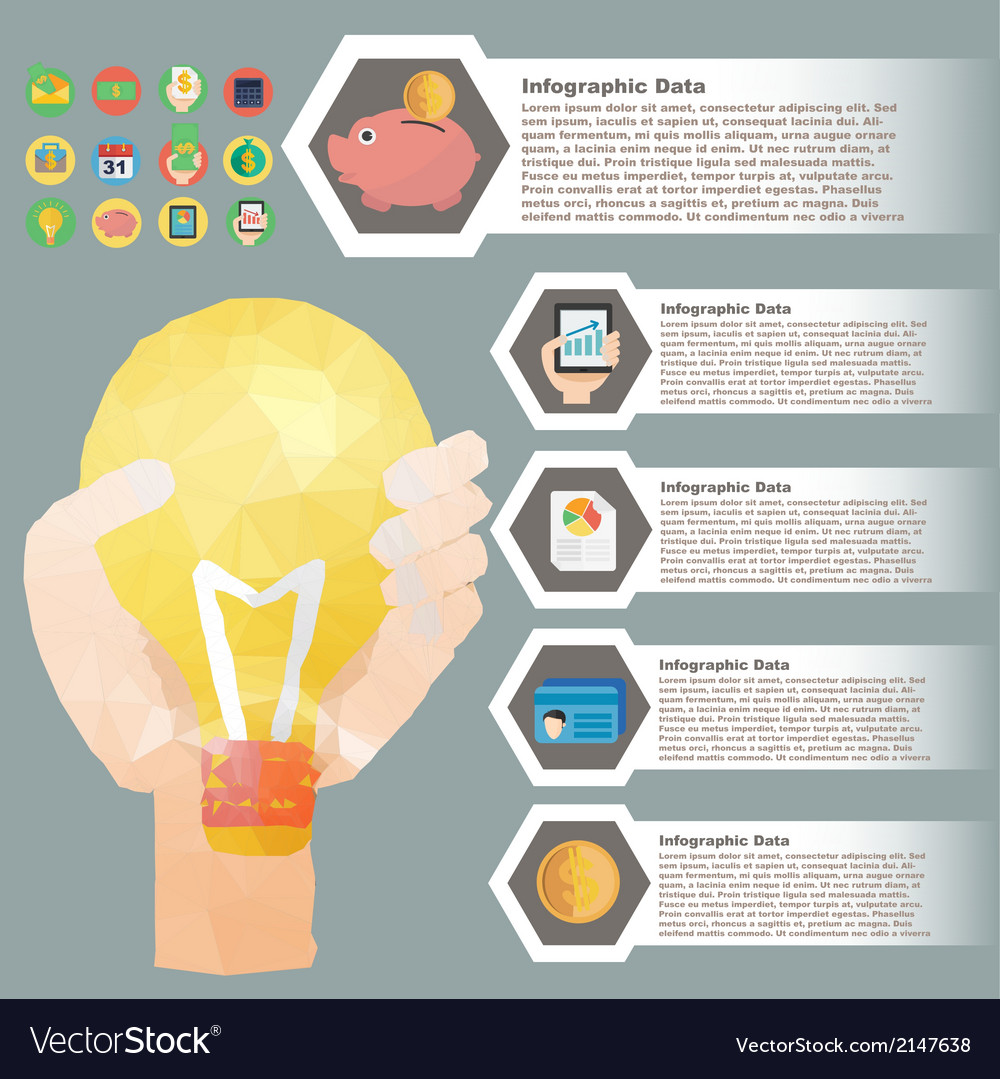Hand hold bulb polygon infographic for financial