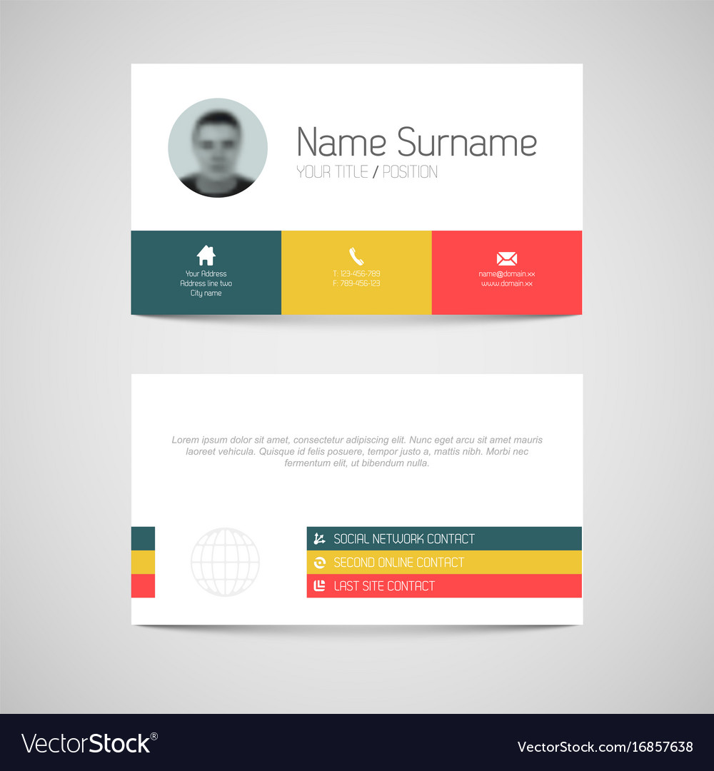 Modern business card template with flat user vector image accmission