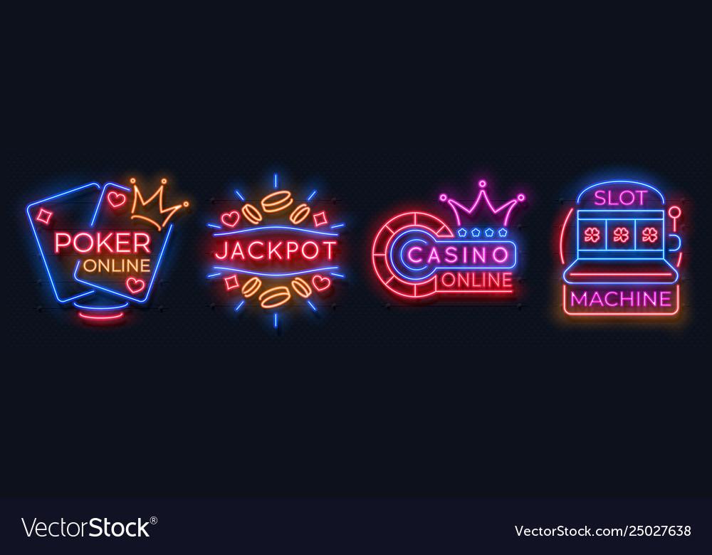 Neon casino banners slot machine playing cards
