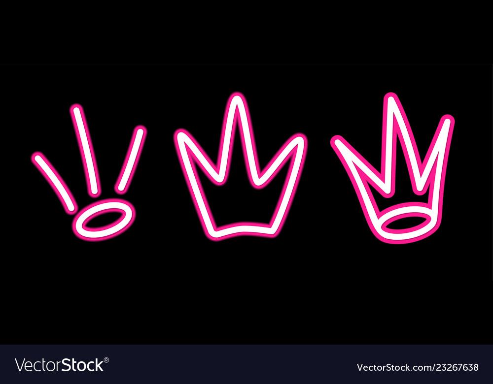 Neon crown graffiti set in pink over black