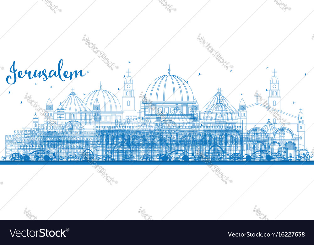 Outline jerusalem skyline with blue buildings