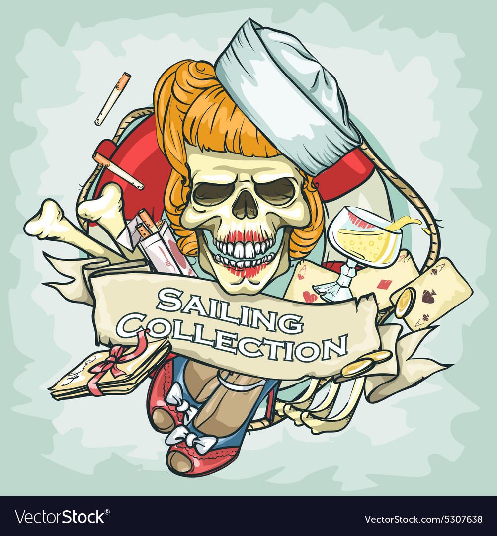 Pin Up Girl skull logo design - Sailing Collection