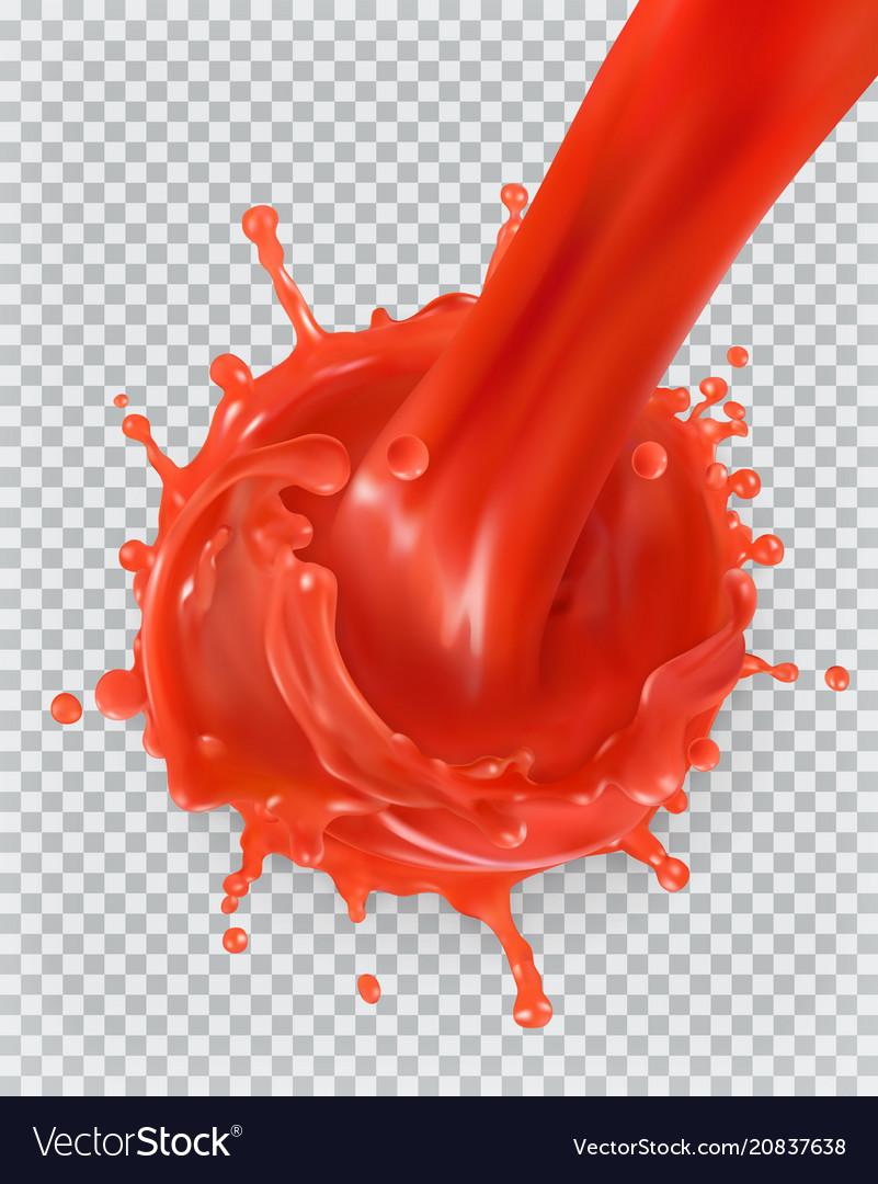 Red paint splash tomato strawberries 3d realism