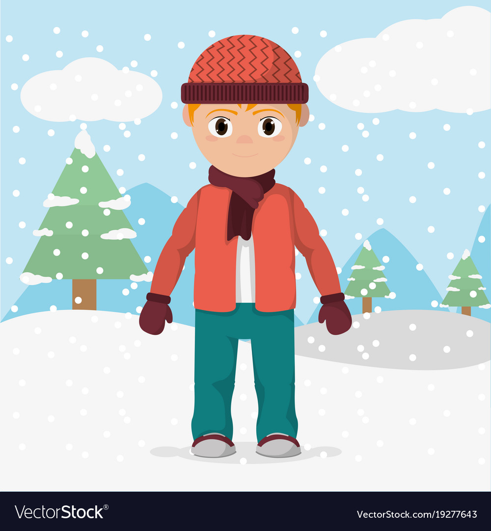 Boy with winter clothes and cold weather Vector Image