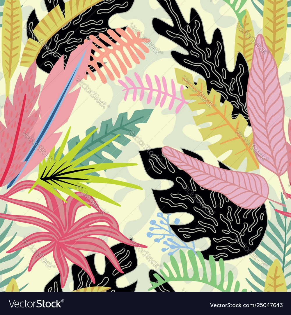 Cartoon tropical leaves flat style
