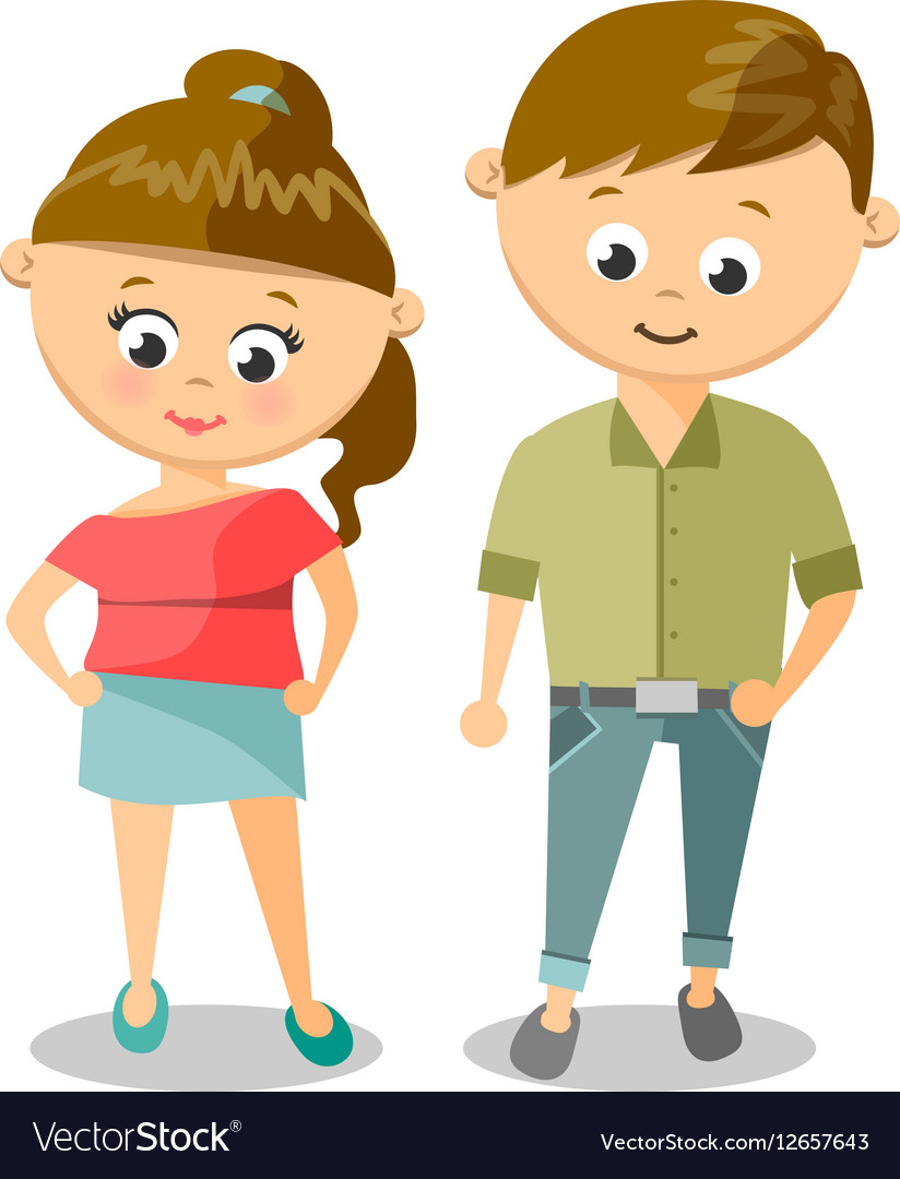 Cute Cartoon Of Young Woman And Man