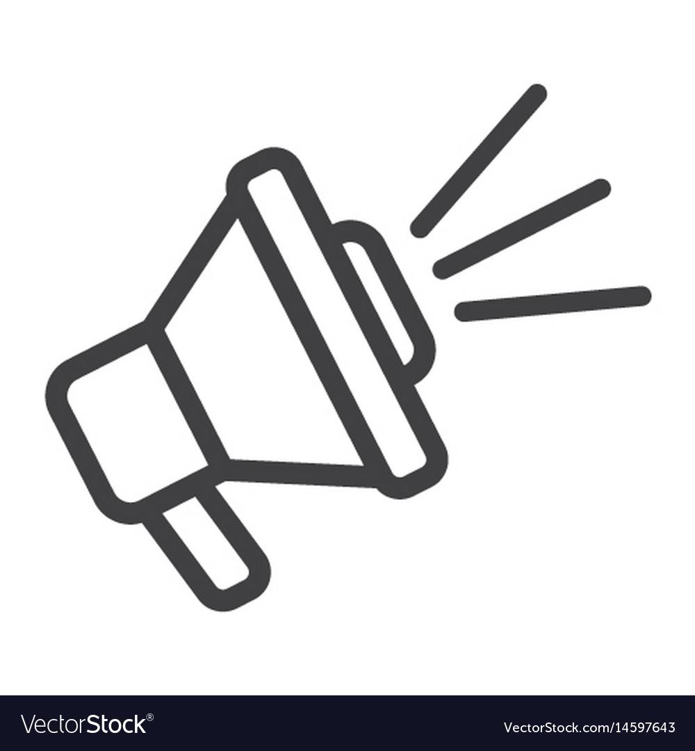 Loudspeaker line icon megaphone and website