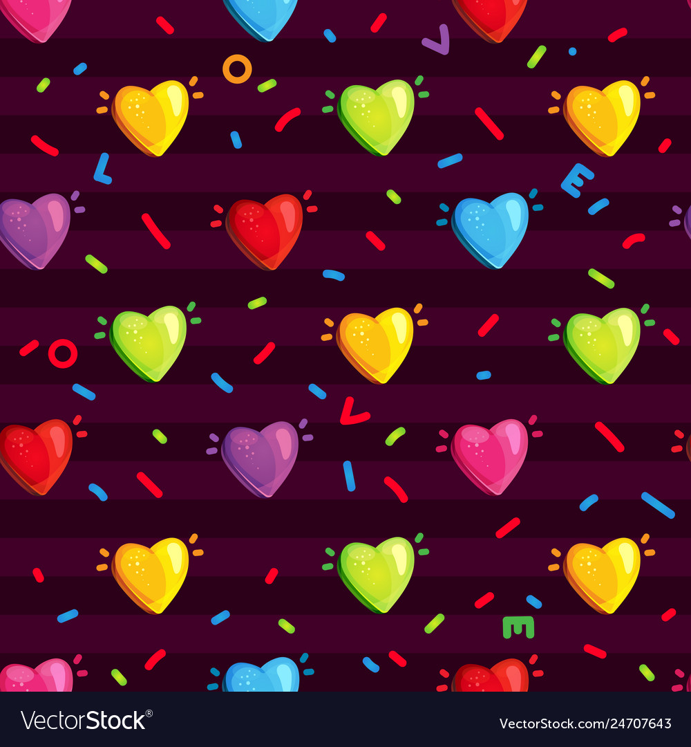 Pattern with multi-colored hearts