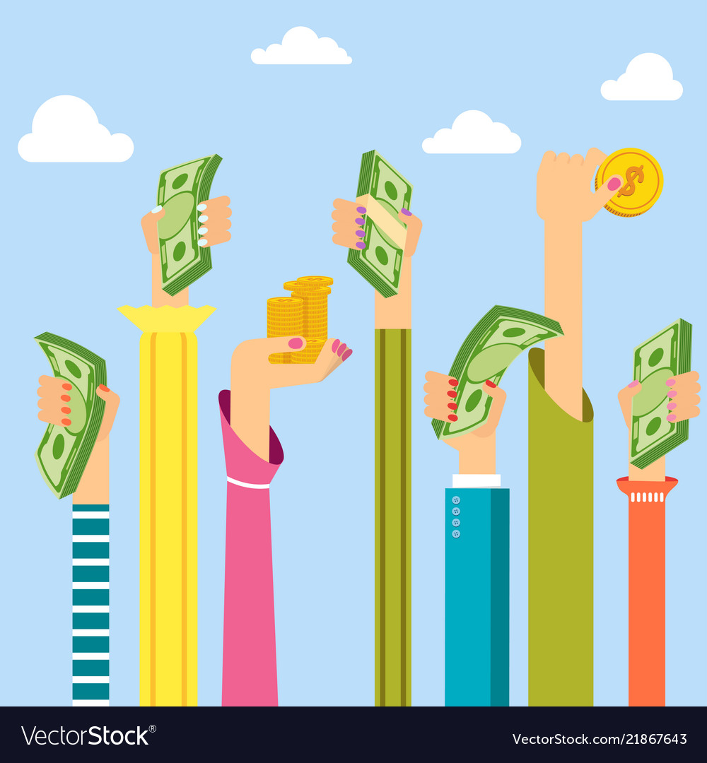 Woman Hand Holding Money Symbol Of Wealth Vector Image