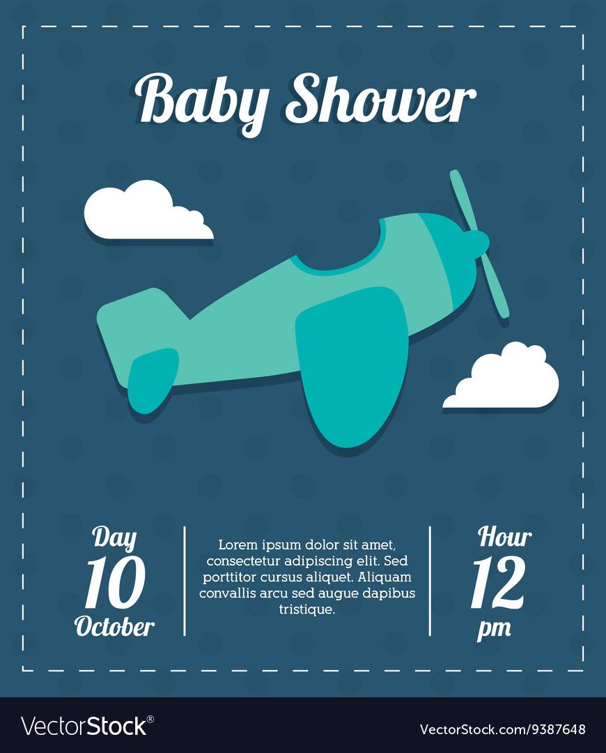 Baby Shower design airplane icon Blue