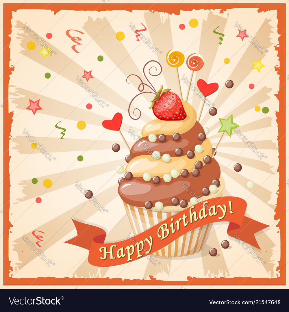 Birthday Card With Cake Ribbon And Strawberry Vector Image