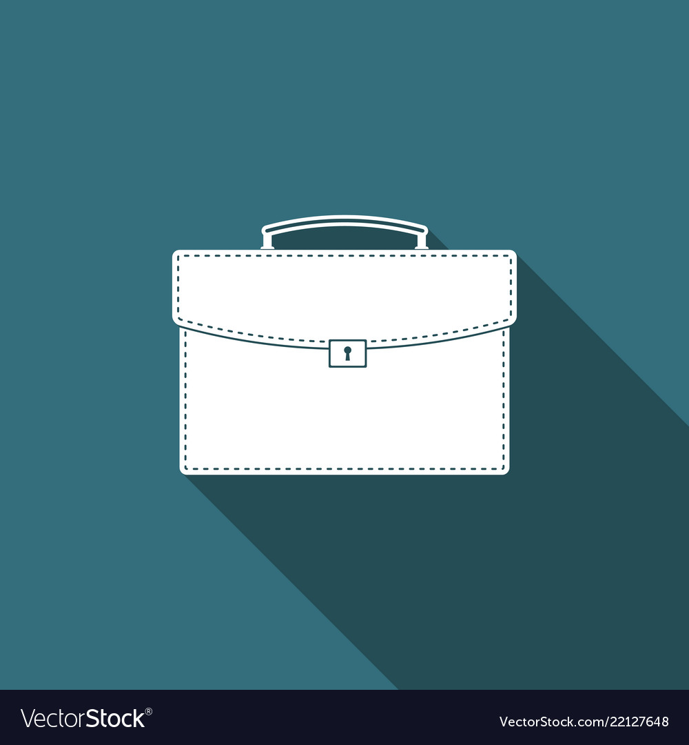 Briefcase icon with long shadow business case