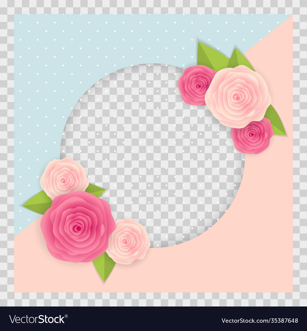 Cute background with frame and flowers collection