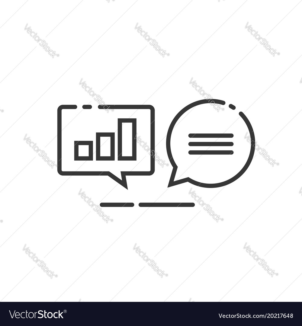 Data analytics icon line outline analyzing vector image