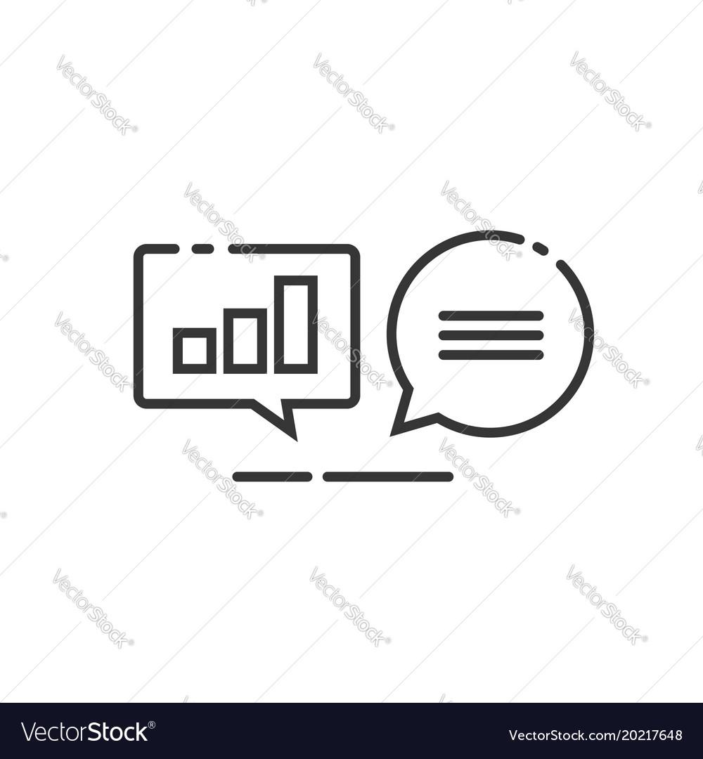 Data analytics icon line outline analyzing