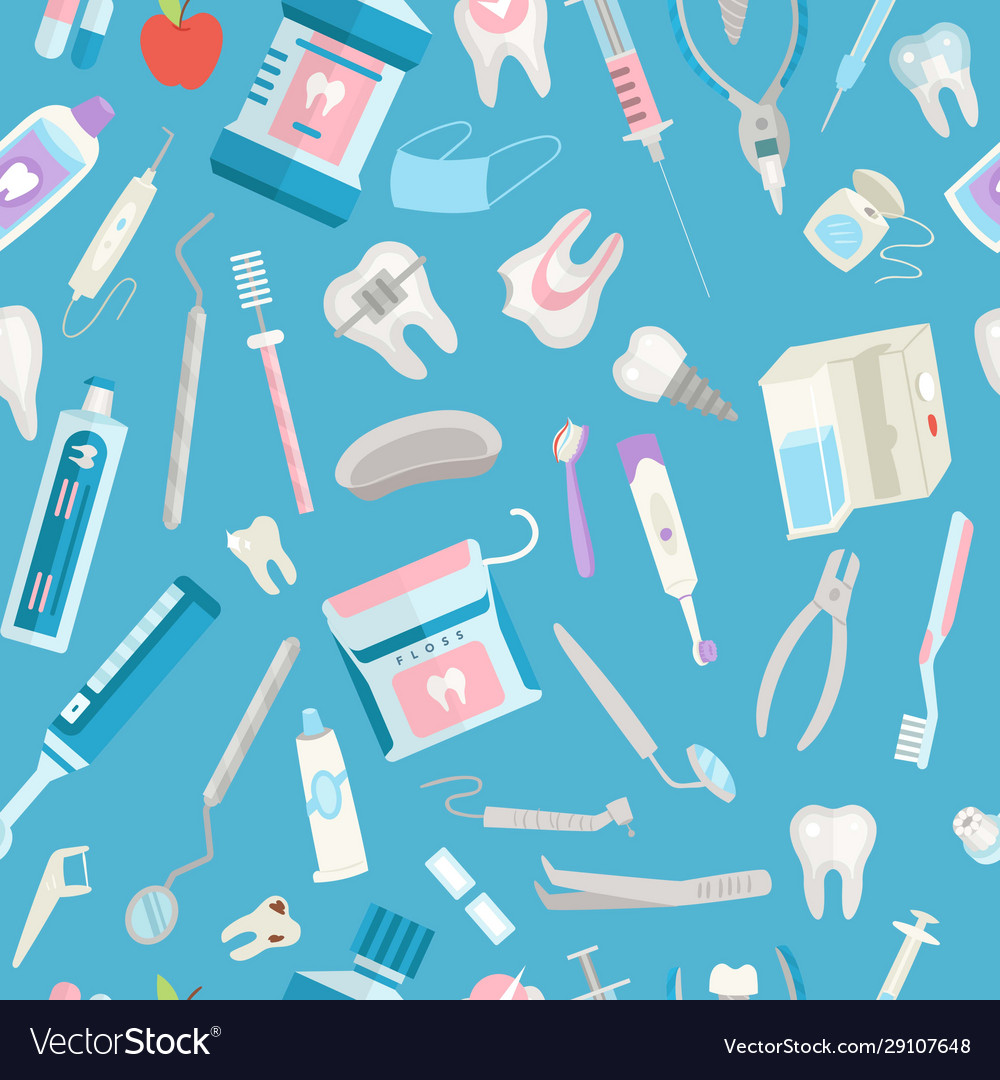 Dental care seamless pattern