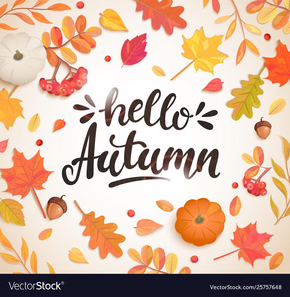 Hello autumn banner in frame autumn leaves