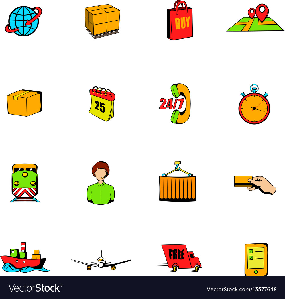 Logistics comics icons set cartoon