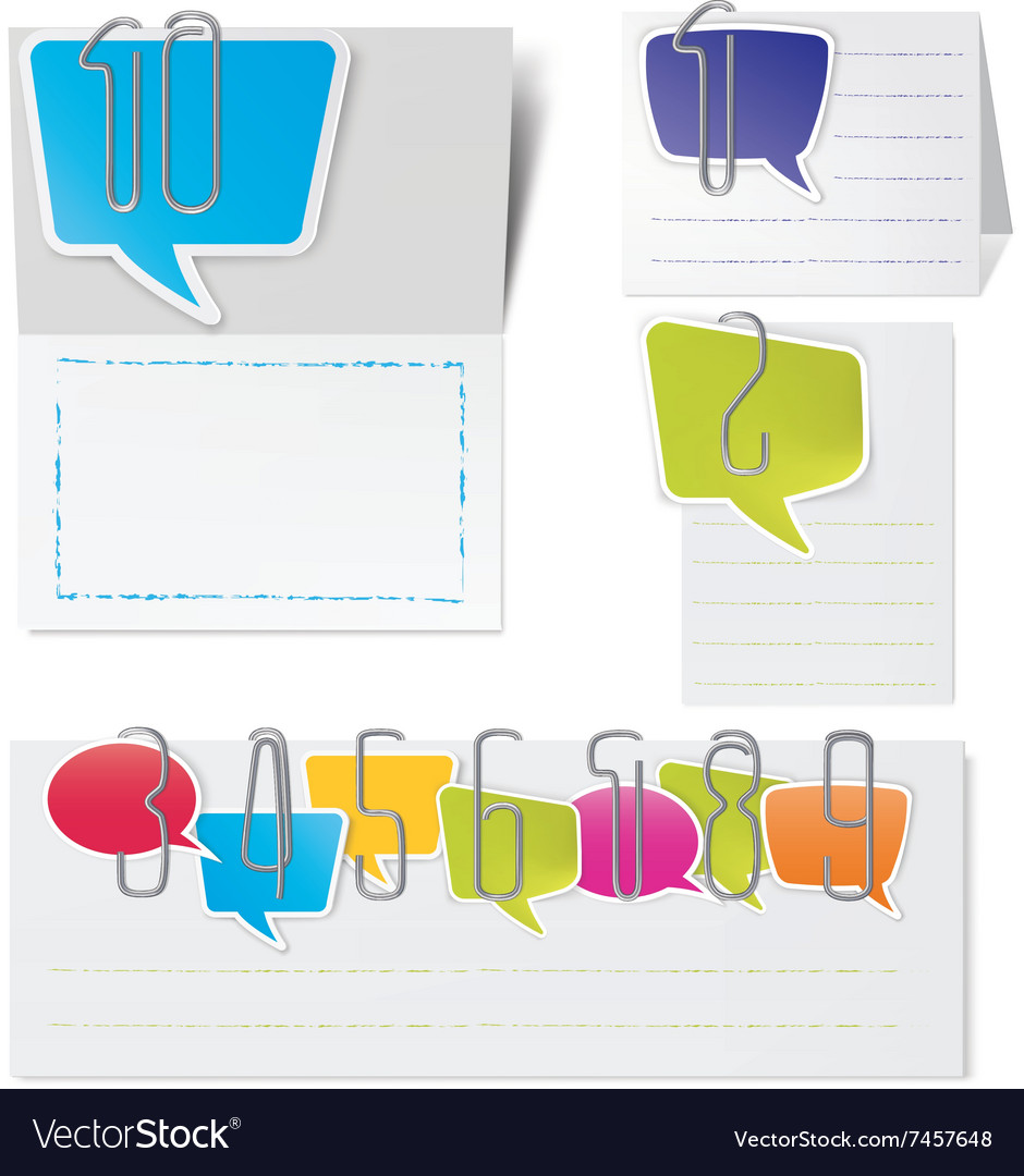 Metal paper clips and Colored paper speech bubbles