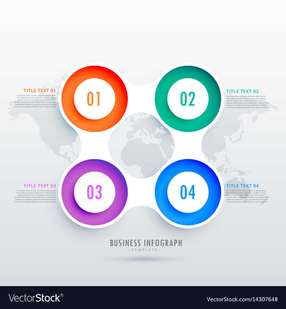Modern circular four steps infographic design can